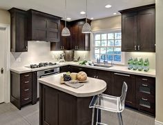 Contemporary Kitchens With Dark Cabinets corner sink small kitchen design, pictures, remodel, decor and