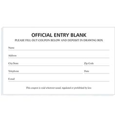 Drawing entry form template entry ticket template door prize drawing