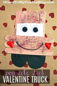 Popsicle Stick Valentine Love Truck - Kid Craft #valentinesday #truck #trucks #popsiclestick #kidcrafts #gluedtomycrafts #love