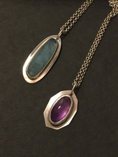 Silver 14k gold casual pendant necklace, aquamarine cabochon pendant, amethyst cabochon pendant necklace, by CXR