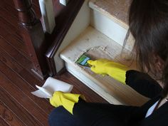 17 How To Clean Paint From Wood, A DIY Staircase Makeover, By Cleverly Inspired, Featured On Remodelaholic Painted Staircases, Hardwood Stairs, Wooden Stairs, Hardwood Floors, Staircase Makeover, Basement Makeover, Staircase Remodel, Staircase Design, Staircase Ideas