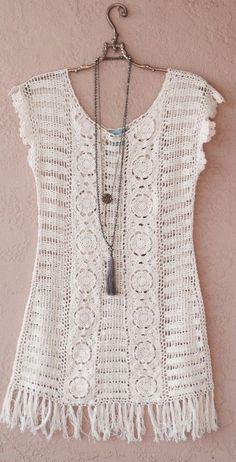 Crochet Shirt Image of Le Tarte Crochet beach wedding dress with fringe - Browse all products from Bohemian Angel. T-shirt Au Crochet, Crochet Woman, Crochet Blouse, Beach Crochet, Crochet Fringe, Crochet Summer, Knooking, Boho Beach Style, Bikinis Crochet