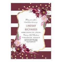 #bridal #shower #invitations - #Burgundy Floral Gold Confetti Chic Bridal Shower Card