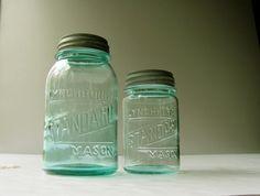 Vintage Lynchburg Standard Mason Jars Aqua Blue by HilltopTimes