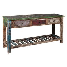 Showcasing 3 drawers and a weathered finish, this reclaimed wood console table is a perfect addition to your entryway or living room..