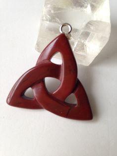 Red Jasper Pendant Celtic Knot  Trinity Triquetra Triangle Natural Gemstone Pendant