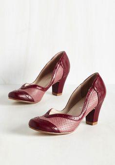 Twentieth Century Foxtrot Heel in Sanguine by Chelsea Crew - Red, Solid, Wedding, Work, Daytime Party, Graduation, Valentine's, Vintage Inspired, 40s, Colorblocking, Better, Chunky heel, Variation, Mid
