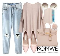 """romwe"" by georgina-mitjans ❤ liked on Polyvore featuring Hermès, Chloé, Furla, women's clothing, women's fashion, women, female, woman, misses and juniors"
