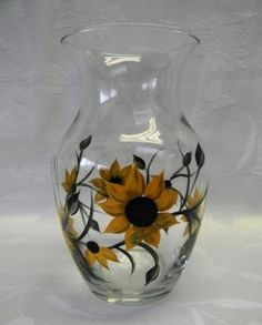 Vase hand painted with sunflowers by Morningglories1 on Etsy, $25.00