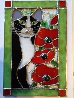 Stained Glass Tom Cat in Poppy Field