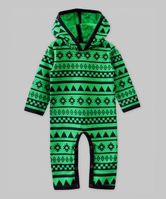 Another great find on #zulily! Green & Blue Geometric Hooded Playsuit - Infant #zulilyfinds