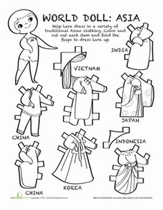 Learn more about other cultures with this paper doll! Color in this world doll and help dress her up with her multicultural wardrobe from Asia. Social Studies Worksheets, Worksheets For Kids, Coloring Worksheets, Multicultural Activities, Geography For Kids, Chinese Crafts, World Thinking Day, Girl Scout Troop, World Crafts
