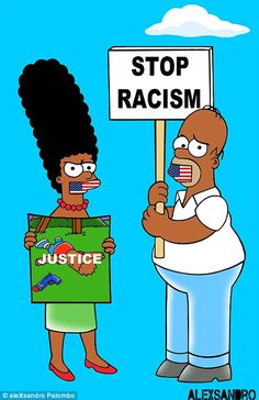 Artist Imagines The Simpsons Joining The Protests Black Cartoon Characters, Simpsons Characters, Disney Characters, Simpson Tv, Homer And Marge, Stop Racism, Rick Y Morty, Black Girl Art, Black Art