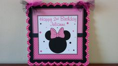 Free Banner With 15 Dollar Purchase, Minnie Mouse Welcome/Door Sign, Minnie Mouse Birthday Decorations, Minnie Mouse Sign Hot Pink and Black