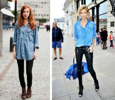 how to wear a denim shirt pants tucked in or not