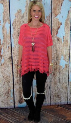 Layered with Fringe Top: Coral