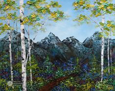 Nature painting of abstract mountain landscape with blue sky and aspen birch tree forest by Canadian Artist Painter Melissa McKinnon Spring Shade