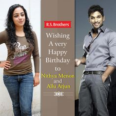 "#R.S.Brothers wishing #AlluArjun & #NityaMenon a Very Happy BirthDay.  Also wishing for the new movie ""S/o. SathyaMurthi"" to make a huge Success, releasing tomorrow i.e on 9-4-2014. (Image copy rights belong to their respective owners)"