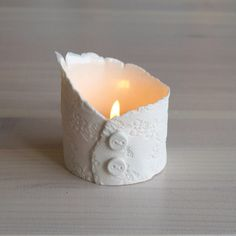 Tealight holder ceramic votive candles vessel white by VanillaKiln