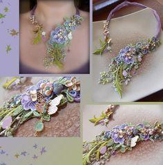 Necklace Serena Di Mercione Creation Ribbon Jewelry, Lace Jewelry, Soutache Jewelry, Textile Jewelry, Bead Jewellery, Seed Bead Jewelry, Fabric Jewelry, Jewelry Crafts, Fabric Embellishment