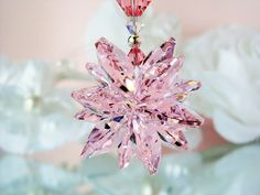 Crystal Suncatcher Car Charm created with Swarovski Light Pink and Aurora Borealis Crystals.