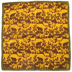 Vintage Vera Gold Olive   Brown Animal Silhouette Design Scarf Square ... abbb85ecb91