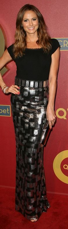 Black tee and silver print maxi skirt