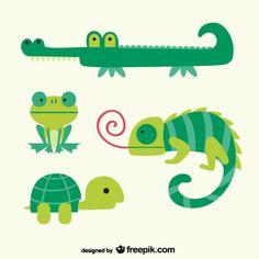 Green animals cartoons