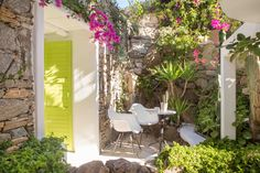 A tropical paradise awaits you right outside your bedroom. Landscape Design, Garden Design, Bougainvillea, Tropical Paradise, Private Pool, Mykonos, Luxury Suites, Arbour, Beach