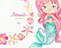 Sirenas. Acuarela Imágenes Prediseñadas mar chicas magia