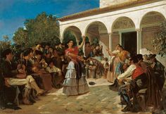 A Gypsy Dance in the Gardens of the Alcázar, in front of Charles V Pavilion. By Alfred Dehodencq in 1851(Museo Carmen Thyssen, Málaga, Spain)
