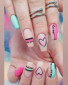 """T A R Y N S N A I L S en Instagram: """"Un pequeño remix de un lindo set de pinterest que ha sido popular en San Valentín. Los anillos BFF de Soul Sisters de Bryan Anthonys tienen uno para ti ...     Requiere un poco  clavo   estilo   ideas   para el   pequeño   uñas o uñas de los pies  No se preocupe ,  tenemos   recibido  usted  cubierto. El... #Anillos #BFF #bryananthonys #Instagram #lindo #Los #para #pequeño #Pinterest #Popular #remix #San #set #sido #Sisters #Soul #tienen #Uno #Valentín Valentine's Day Nail Designs, Cute Acrylic Nail Designs, Art Designs, Summer Acrylic Nails, Best Acrylic Nails, Trendy Nail Art, Stylish Nails, Latest Nail Art, Work Nails"""