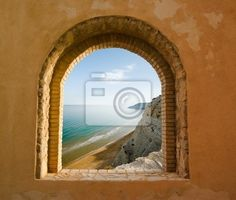 High Quality Arched Window On The Coastal Landscape Of A Bay Wall Mural   Vinyl U2022  Pixers® U2022 We Live To Change