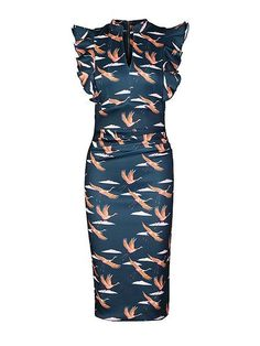6f95a25cb16 Sarah Green Bird Print Frilly Shoulder Dress Blue Green Dress