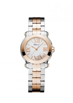 Chopard Watch Happy Sport 30 MM Watch 18-carat rose gold, stainless steel and diamonds