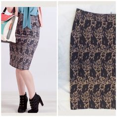 Modcloth Mikarose Faux Lace Floral Pencil Skirt This is a flattering knee length pencil skirt with pockets. Black, Charcoal Gray and pink floral print. Plenty of stretch! Soft. Only worn twice. Length is 25.5. Runs large! ModCloth Skirts Pencil