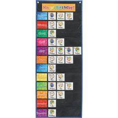 Celebrating Birthdays Space Saver Pocket Chart by Really Good Stuff Inc Birthday Graph, Birthday Cards, Preschool Birthday Board, Class Birthday Display, Student Birthdays, Discount School Supply, Really Good Stuff, Teacher Supplies, Name Cards