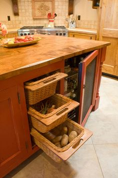 The Use Of Wicker Baskets For Breathability In These Root Vegetable Drawers Is A Great Idea I Love Fact That They Re Removable