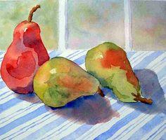 """A Trio of Pears"" - watercolor by Suzanne Martin"