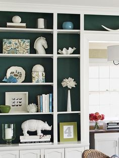 Credit: Jim Bastardo Bookcases The Petersiks painted the back of the built-in bookcases Dragonfly by Benjamin Moore. It's one of the blog's ...