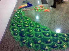 13 Amazing Peacock Rangoli Designs - Rangoli are decorative designs using rice,  sand or flower petals. In India the folk art of Rangoli is done inside homes or outside in courtyards, especially during Hindu holy festivals.