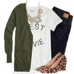 J.Crew cardigan, tee, necklace & leopard wedges