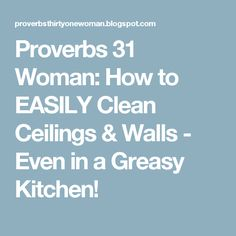 Proverbs 31 Woman: How to EASILY Clean Ceilings & Walls - Even in a Greasy Kitchen!