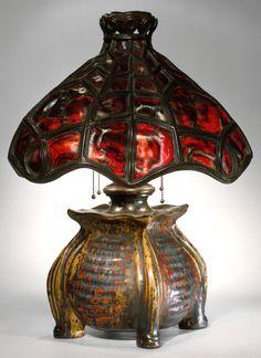 Art Nouveau lamp, 1900-1902, ceramic base by Pierre Adrien Dalpayrat, H. 23-1/2, W. 18 inches