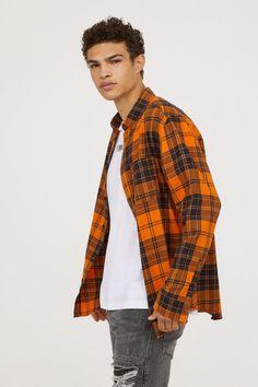 Camisa en franela de algodón NaranjaCuadros HOMBRE | H&M ES