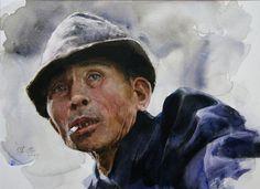 from hometown of Runtu - Guan Weixing Watercolor Face, Watercolor Portraits, Watercolor Paintings, Watercolours, Love Painting, Figure Painting, Mao Zedong, Tinta China, Guache