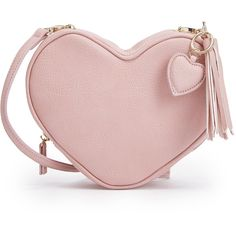 See this and similar handbags - We're falling for this JustFab bag! A heart shape makes it stand out from the crowd, while a removable crossbody strap and fring...