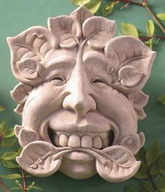 "Hand Cast Stone Seymour Knot The Prankster In Nature Plaque - Concrete Botanical Leaf Face Sculpture by Creative Structures. $33.99. Unique And Whimsical Works Of Art By George At Carruth Studio. Extremely Innovative Creations That Breathe Life And Bring Joy And Whimsy To Your Home Or Garden. Dimensions: 5.5"" W x 6.5"" H x 2.75"" D - Item Weight: 3 Lbs. - Made In The USA. Hand Cast Stone, Weatherproof & Waterproof, Handfinished With A Patina Wash To Accentuate The Details. A C..."