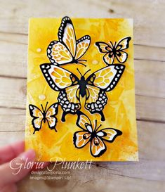I played today with Stampin' Up's Brusho Crystal Colours on Watercolor Paper. Ich habe heute mit Stampin 'Ups Brusho Crystal . Butterfly Drawing, Butterfly Painting, Butterfly Cards, Brusho, Bee Cards, Stamping Up Cards, Rubber Stamping, Homemade Cards, Flower Art