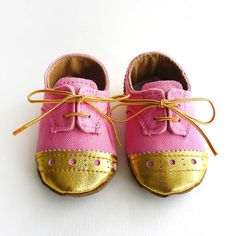 Baby Girl Shoes Bright Pink Canvas with Gold Brogued Beige Leather Crib shoes. $33.00, via Etsy.